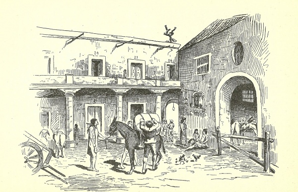 Dibujo del interior de una posada