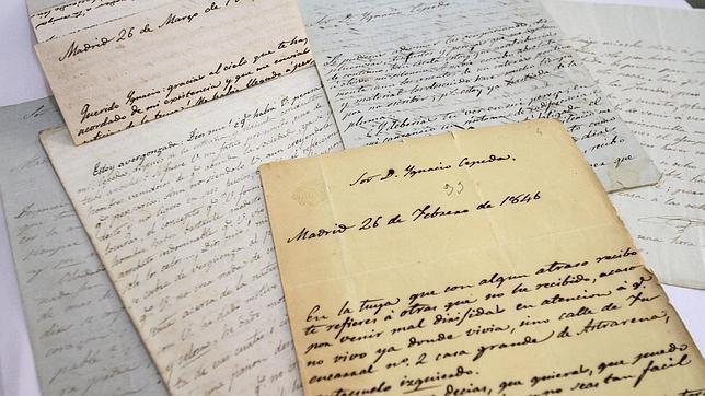 Detalle cartas de Gertrudis Gómez de Avellaneda a Ignacio de Cepeda