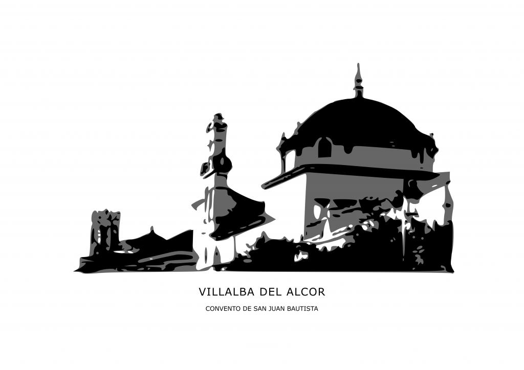 Ilustración del convento carmelita de Villalba del Alcor en tonos grises