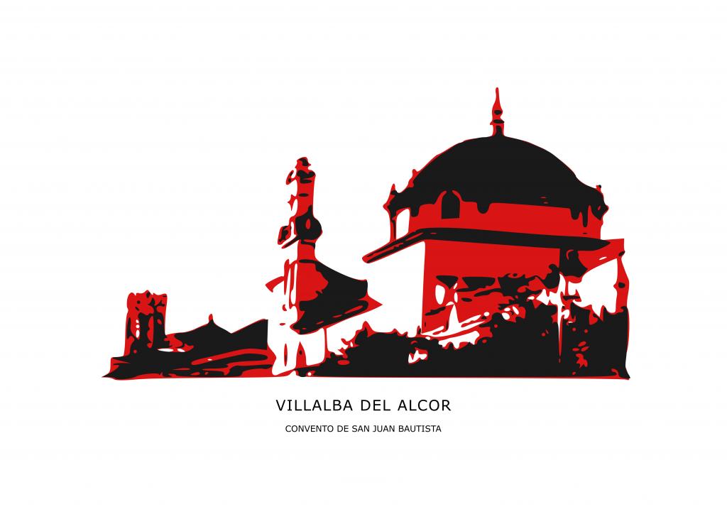 Ilustración convento carmelita de Villalba del Alcor en tonos rojos