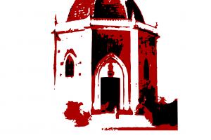 ilustración de la ermita de santa Águeda en rojo y negro