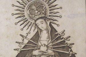 Detalle grabado de la Virgen de la Soledad de Villalba del Alcor